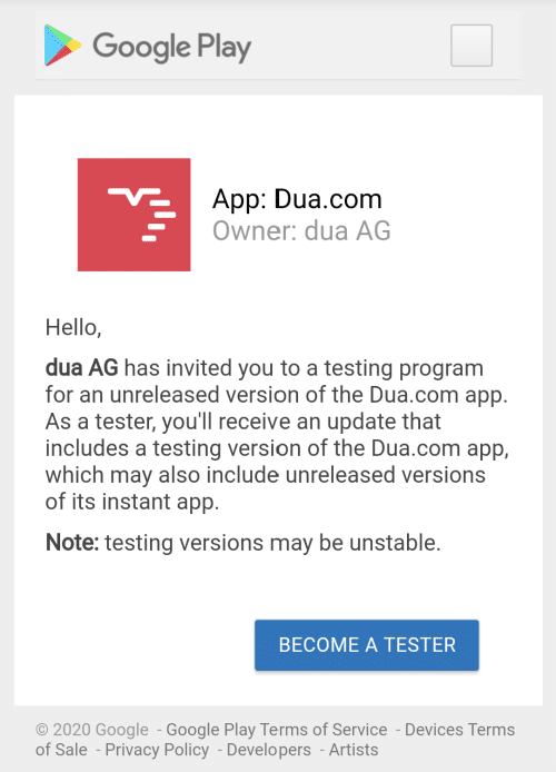 Beta Tester Android
